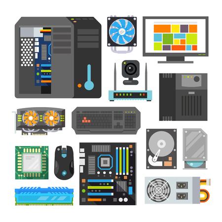 Illustration pour Modern flat icons set. PC components. Computer store. Assembling a Desktop Computer. - image libre de droit