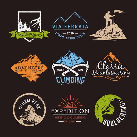 Ilustración de Set labels on the theme of Climbing, Trekking, Hiking, Mountaineering. Extreme sports, outdoor recreation, adventure in the mountains, vacation. Achievement - Imagen libre de derechos