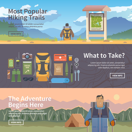 Ilustración de Set of flat vector web banners on the theme of Climbing, Trekking, Hiking, Walking. Sports, outdoor recreation, adventures in nature, vacation. Modern flat design. - Imagen libre de derechos
