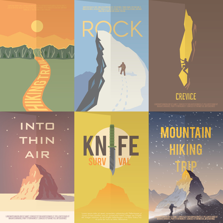 Illustration pour Set of flat vector advertising posters on the theme of Climbing, Trekking, Hiking, Walking. Sports, outdoor recreation, adventures in nature, vacation.Vintage flat design. - image libre de droit