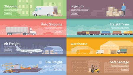 Illustration pour Set of flat vector web banners on the theme of Logistics, Warehouse, Freight, Cargo Transportation. Storage of goods, Insurance. Modern flat design. - image libre de droit