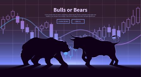 Illustration pour Stock exchange trading banner. The bulls and bears struggle. Equity market concept illustration. Modern flat design. - image libre de droit