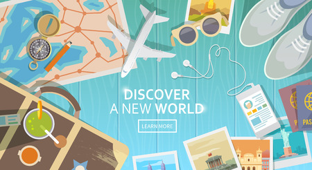 Illustration pour Flat vector web banner on the theme of travel , vacation, adventure. Preparing for your journey. Outfit of modern traveler. Objects on wooden background. Top view. Discover a new world. - image libre de droit