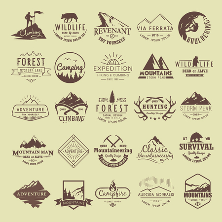 Illustration pour Set of vintage labels on the theme of Climbing, Trekking, Hiking, Mountaineering, Hunting. Extreme sports, outdoor recreation, adventure in the mountains, vacation. Achievement. - image libre de droit