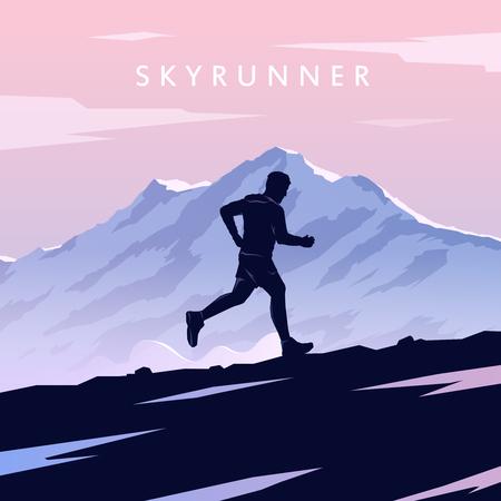 Illustration pour Mountain Running. - image libre de droit