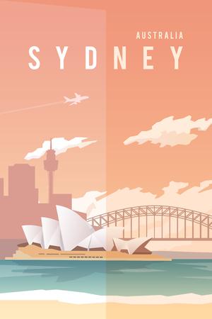 Illustration for Vector retro poster. Sydney, Australia. Opera house. Harbour bridge. Travel poster Flat design - Royalty Free Image