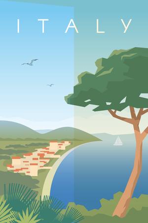 Illustration pour Vector retro poster. Italian city on the Mediterranean sea. Vacation in Italy. Seaport. Travel poster. Flat design. - image libre de droit