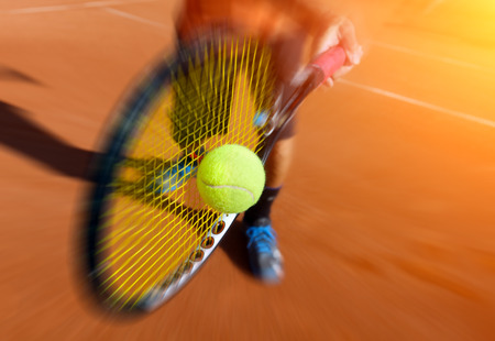 Foto per male tennis player in action - Immagine Royalty Free