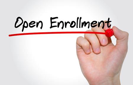 Photo pour Hand writing inscription Open Enrollment with marker, concept - image libre de droit