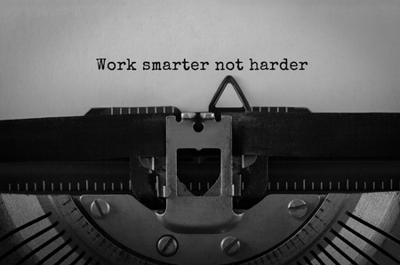 Photo for Text Work smarter not harder typed on retro typewriter - Royalty Free Image