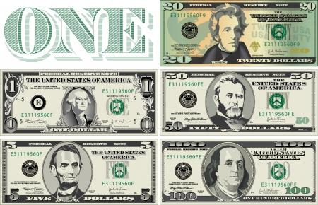 Ilustración de Five detailed, Stylized drawings of Bills - Imagen libre de derechos