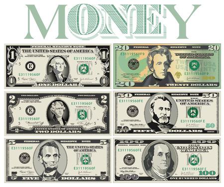 Ilustración de Six detailed, Stylized drawings of Bills for Print or Web - Imagen libre de derechos