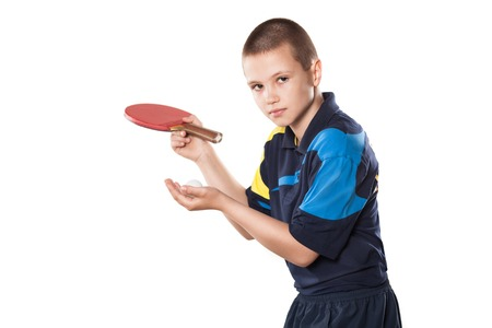 Portrait Of Kid Playing Tennis On Isolated white Background