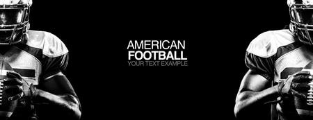 Photo pour Sport concept. American football sportsman player on black background with copy space. Sport concept. - image libre de droit