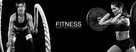 Foto de Sporty and fit women with dumbbell and battle rope exercising at black background to stay fit. Workout and fitness motivation. - Imagen libre de derechos