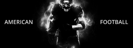 Photo for American football sportsman player on black background running in action. Sport wallpaper with copyspace. - Royalty Free Image