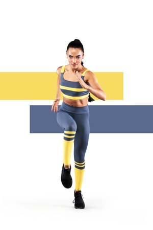Photo for A strong athletic, women sprinter, running wearing in the sportswear, fitness and sport motivation. Runner concept with copy space. Dynamic movement - Royalty Free Image