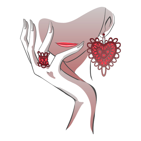 Illustration pour Woman lips and chin with hand, laceheart jewelry isolated on white background. - image libre de droit