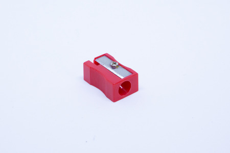 Photo pour Red Sharpener pencil isolated on white background - image libre de droit