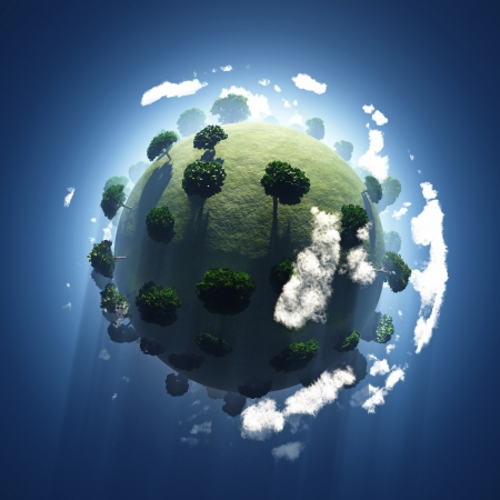 Photo for green planet from space  - Royalty Free Image