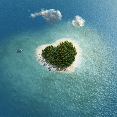 Photo for heart-shaped tropical island  - Royalty Free Image