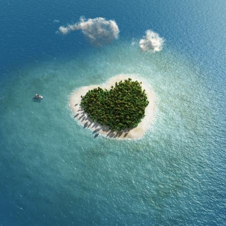 Photo pour heart-shaped tropical island  - image libre de droit