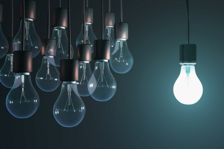 Photo for glowing bulb among the gray - Royalty Free Image