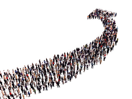 Foto per crowd in the shape of an arrow - Immagine Royalty Free