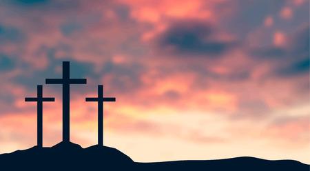 Illustration pour Crucifixion Of Jesus Christ - Cross At Sunset vector illustration - image libre de droit