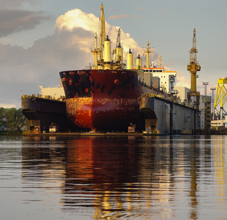 Photo for bulk carrier in the repair yard - Royalty Free Image
