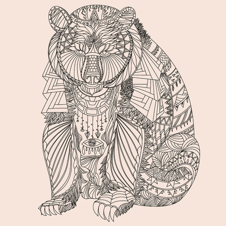 Illustration for Patterned bear  - Royalty Free Image