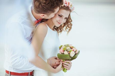 Photo for Couple walking on beach. Wedding - Royalty Free Image