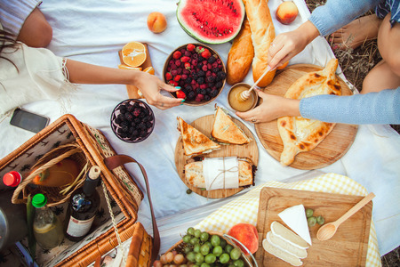 Photo for Picnic set with fruit, cheese, toast, honey, wine with a wicker basket and a blanket. Beautiful summer background with girl and products on nature - Royalty Free Image