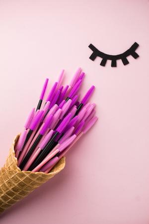Foto de The brush lash, comb, help to keep the shape, also used in eyelash extension application - Imagen libre de derechos