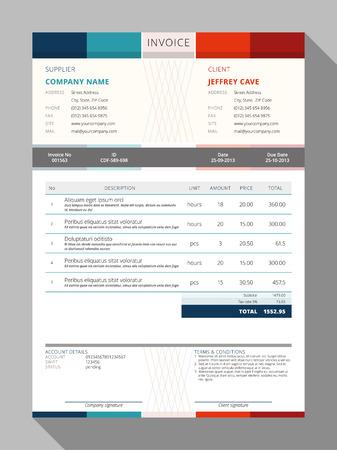 Illustration pour Vector Customizable Invoice Form Template Design. Vector Illustration - image libre de droit