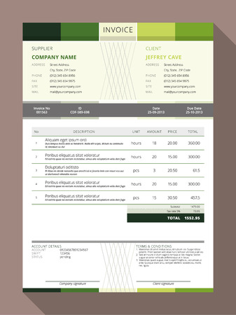 Photo pour Vector Customizable Invoice Form Template Design. Vector Illustration - image libre de droit