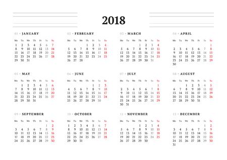 Illustration pour Simple Calendar Template for 2018 Year. Stationery Design. Week starts Monday. Vector Illustration - image libre de droit