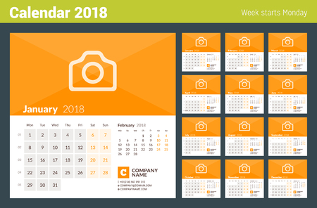 Illustration for Calendar for 2018 Year. Week Starts on Monday. Set of 12 Months. Vector Design Print Template with Place for Photo and Company Information - Royalty Free Image