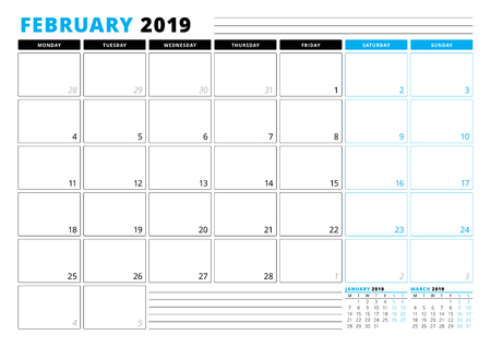 Illustration pour Calendar Template for February 2019. Business Planner Template. Stationery Design. Week starts on Monday. 3 Months on the Page. Vector Illustration - image libre de droit