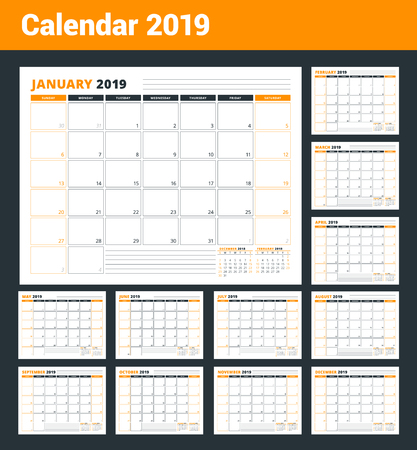 Illustration for Calendar Template for 2019 year. Business Planner Template. Stationery Design. Week starts on Sunday. Landscape orientation. Vector Illustration - Royalty Free Image