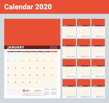 Illustration pour Wall Calendar Planner for 2020 Year. Vector Design Print Template with Place for Photo and Notes. Phases of the Moon. Week Starts on Monday. Set of 12 months - image libre de droit