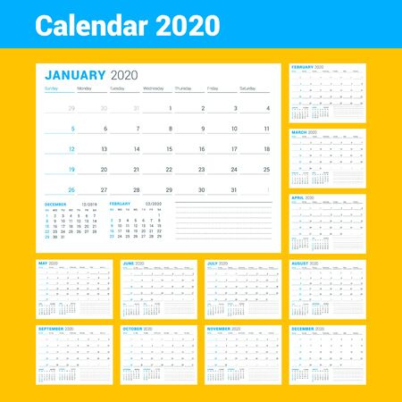 Illustration pour Calendar template for 2020 year. Business planner. Stationery design. Week starts on Sunday. Vector illustration - image libre de droit