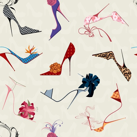 Seamless pattern with women's high heels