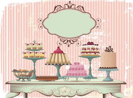 Photo for Old-fashioned table is set with different cakes  All objects are grouped and separated to layers - Royalty Free Image