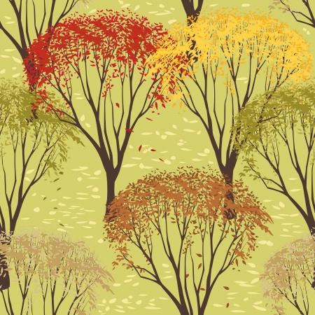 Seamless pattern with trees in autumn season