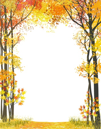 Illustration pour Frame composition with autumn trees on white background - image libre de droit