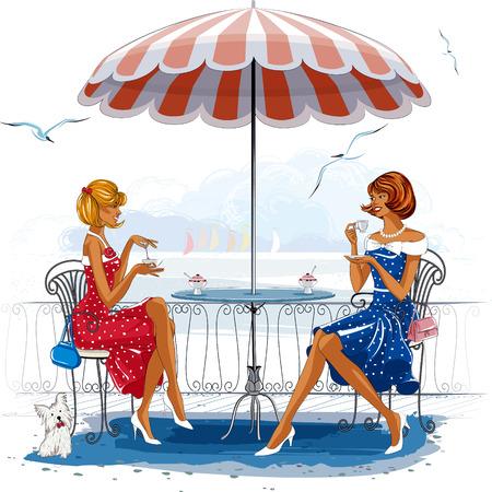 Illustration pour Two beautiful women sitting at the cafe near the beach - image libre de droit