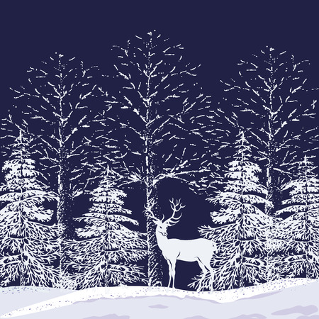 Illustration pour Silhouettes of snowy trees and fir trees in the forest and reindeer on a dark blue background - image libre de droit