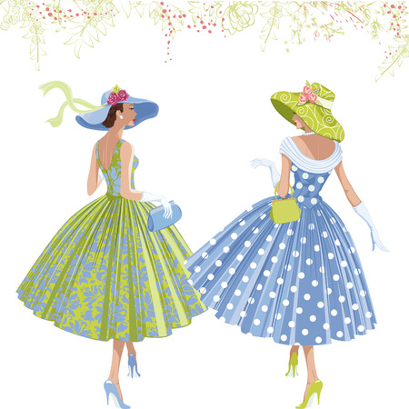 Illustration pour Two walking elegant women dressed in style of 1950s isolated on white background. - image libre de droit