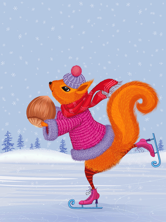 Illustration pour Fashionably dressed cute squirrel skating with hazelnut in her paws - image libre de droit